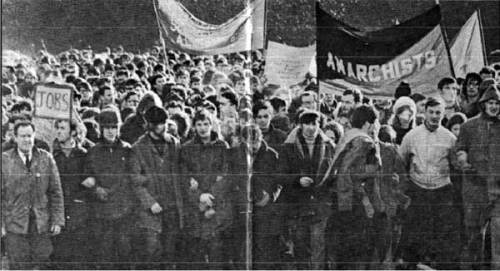 Belfast Anarchist banner at a Peoples Democracy march (1969?)