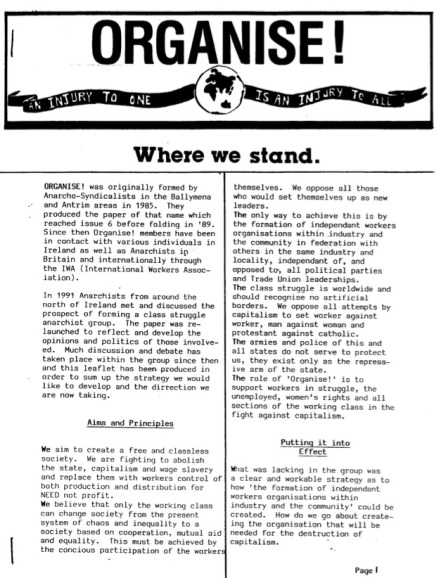 Organise - where we stand 1991
